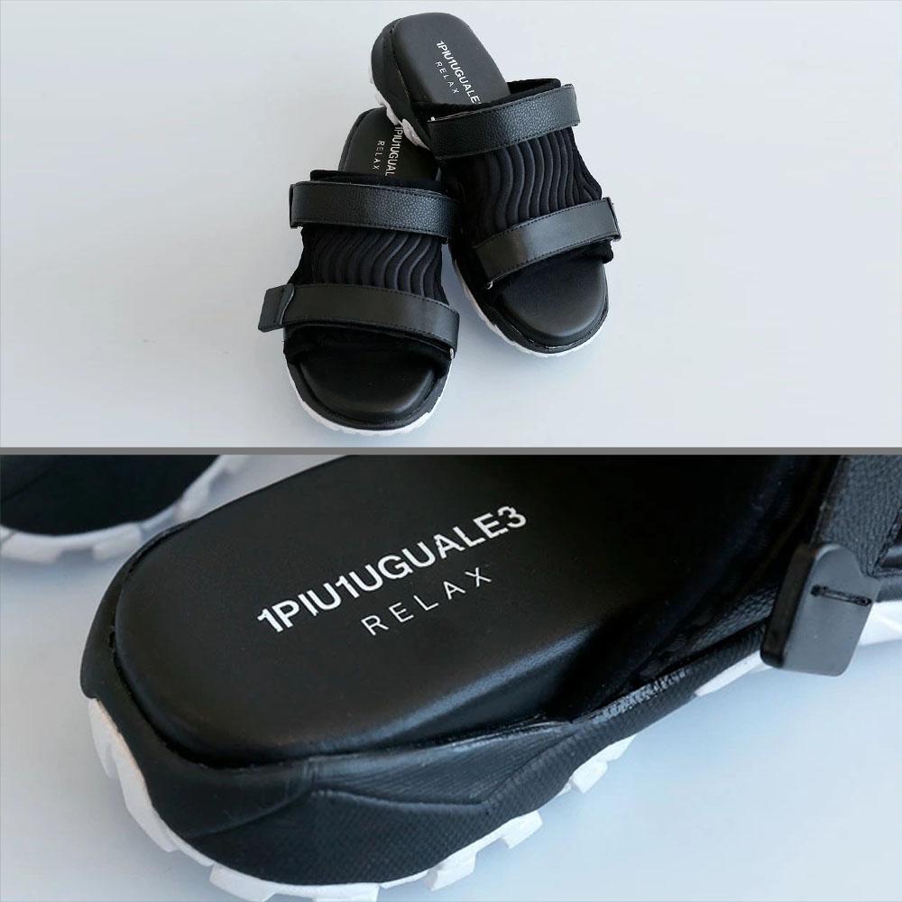 1PIU1UGUALE3 RELAX フロントカバーサンダル usx20003 BLACK
