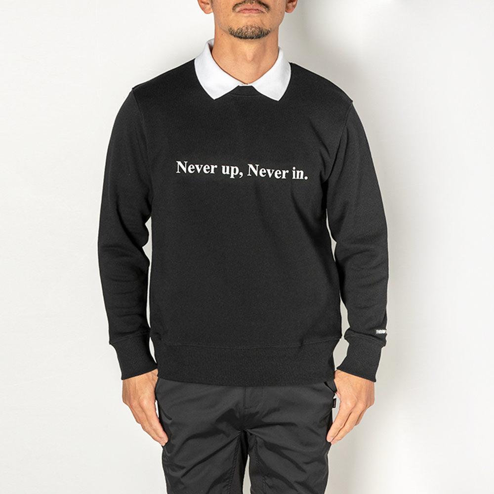 BANDEL スウェット Never up,Never in GOLF CREW NECK BG-NUCNS001 BLACKxWHITE