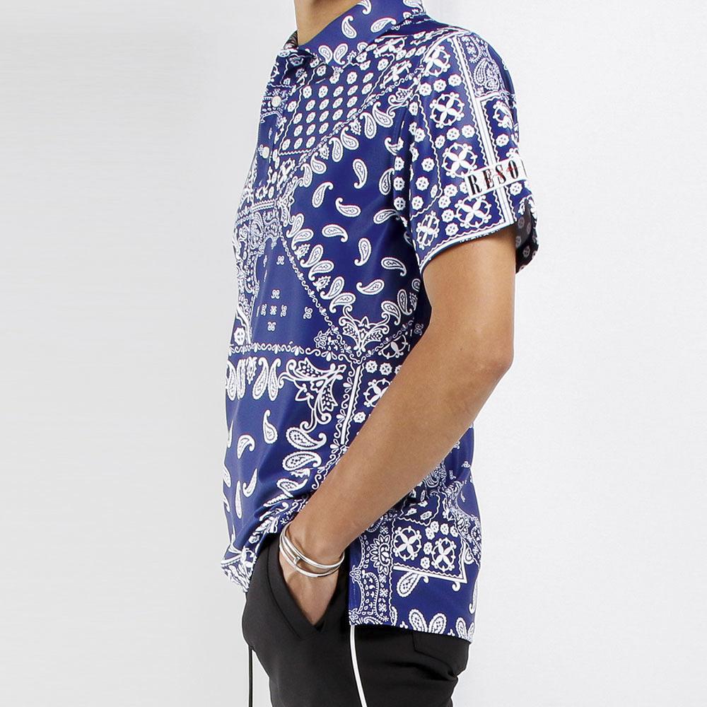 RESOUND CLOTHING ポロシャツ BANDANA RUSH POLO RC21-T-005 BLUE