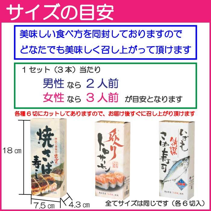 冷凍【出雲日本海セット】 焼き鯖寿司 特撰さばすし 炙りトロサーモンスシ 各6切 解凍も簡単です  送料無料 但し北海道・沖縄へのお届けは送料770円追加