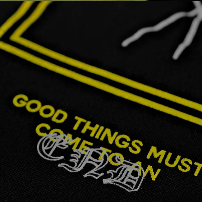 【即納L,XL,2XL,】Bad Omens /バッド・オーメンズ - Yellow Flower プルオーバーパーカー(ブラック)