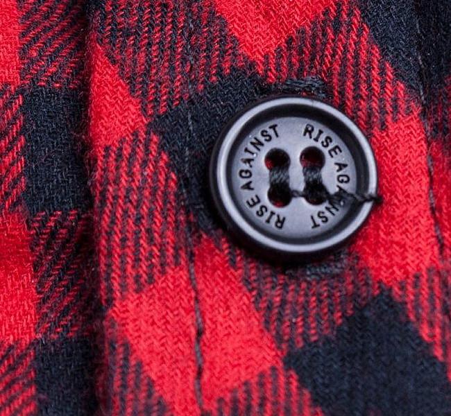 Rise Against / ライズ・アゲインスト - Heartfist フランネル・ボタンダウンシャツ(レッド)