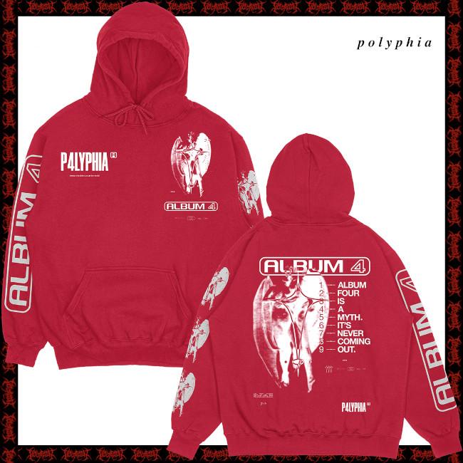 【期間限定】Polyphia / ポリフィア - Album 4 Is A Myth プルオーバーパーカー(レッド)