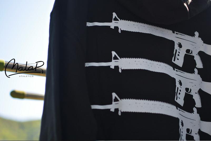 【即納M,L,XL,XXL】Matar / マター - Three Guns プルオーバーパーカー(ブラック)