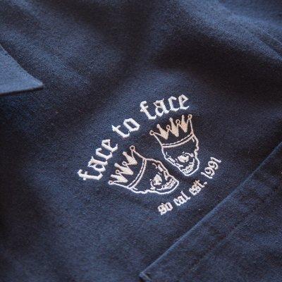 Face To Face /フェイス・トゥ・フェイス - Skull Crown フランネル・ボタンダウン・シャツ  (ネイビー)