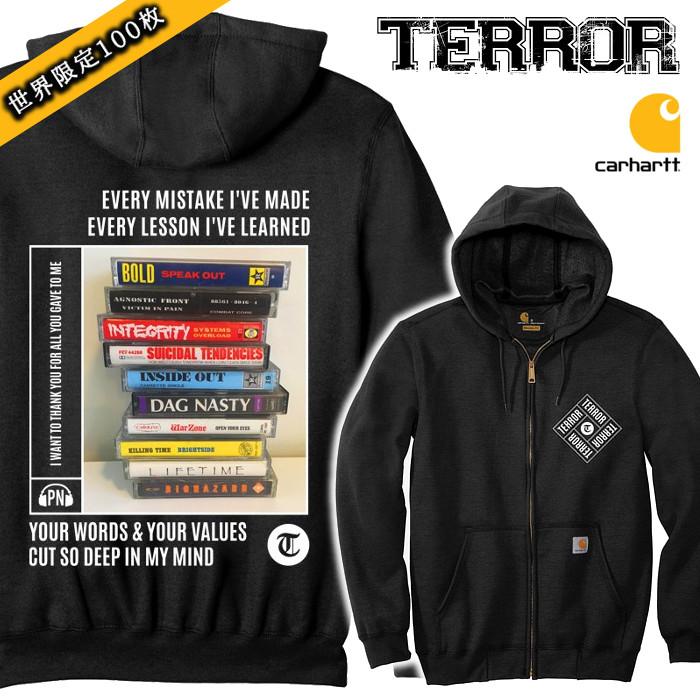 【限定100】TERROR/テラー - Thank You カーハート・ジップアップパーカー(ブラック)