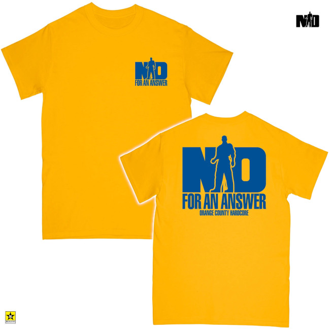 No For An Answer / ノー・フォー・アン・アンサー - ORANGE COUNTY HARDCORE Tシャツ(ゴールド)