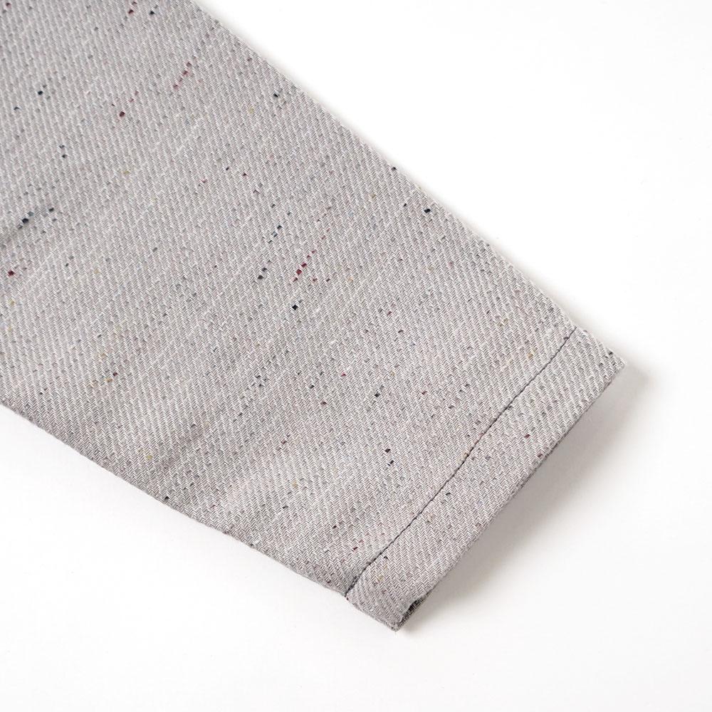 リス刺繍カラーネップシャツ グレー 80cm・90cm・100cm / Hoppetta