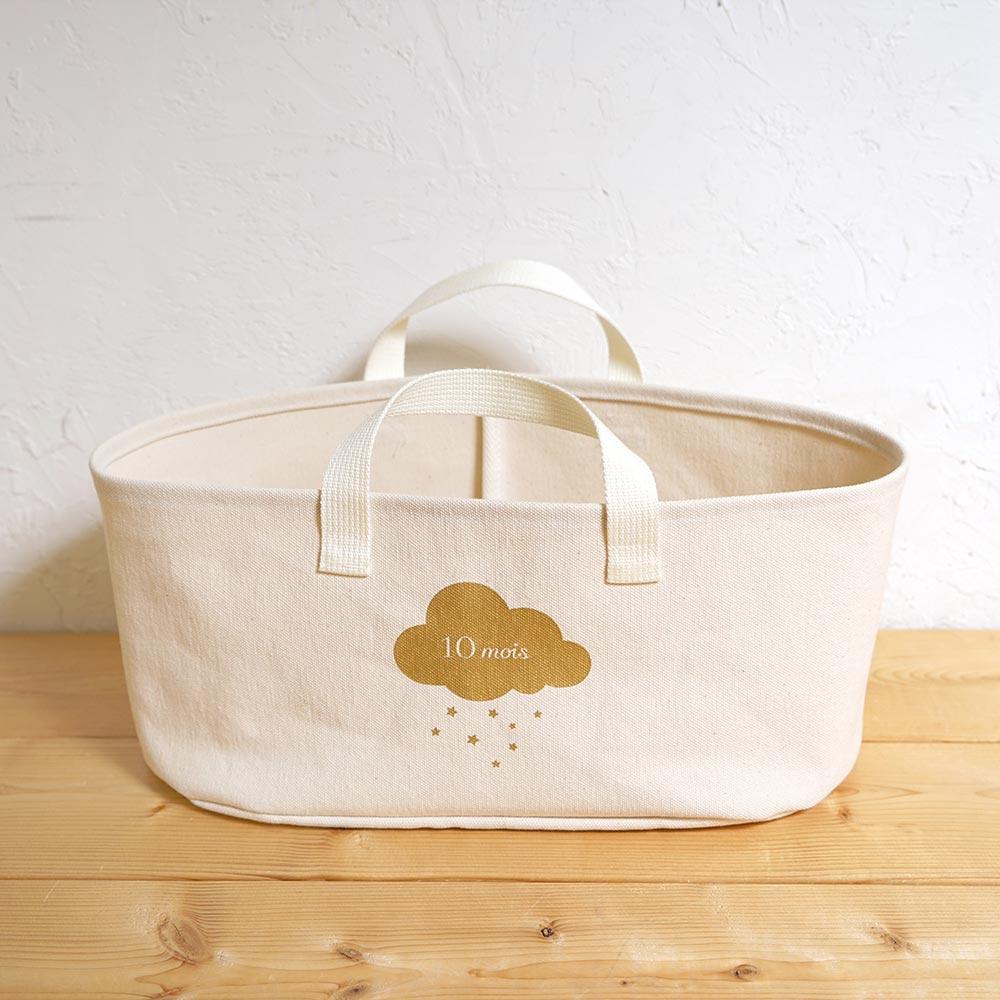 帆布ギフトBAG お食事セット ピンク / 10mois / 出産祝い / 名入れ刺繍可