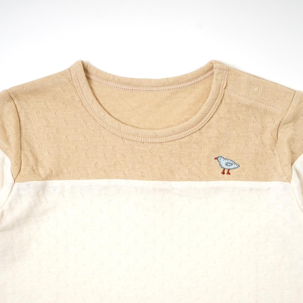 guri(ぐり) オーガニックコットン 配色ロングTシャツ マスタード 80cm・90cm・100cm / Hoppetta plus