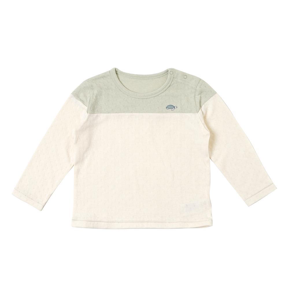 guri(ぐり) オーガニックコットン 配色ロングTシャツ