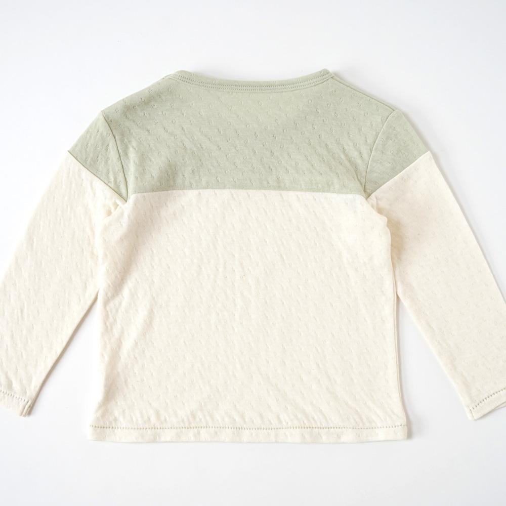 guri(ぐり) オーガニックコットン 配色ロングTシャツ グリーン 80cm・90cm・100cm / Hoppetta plus