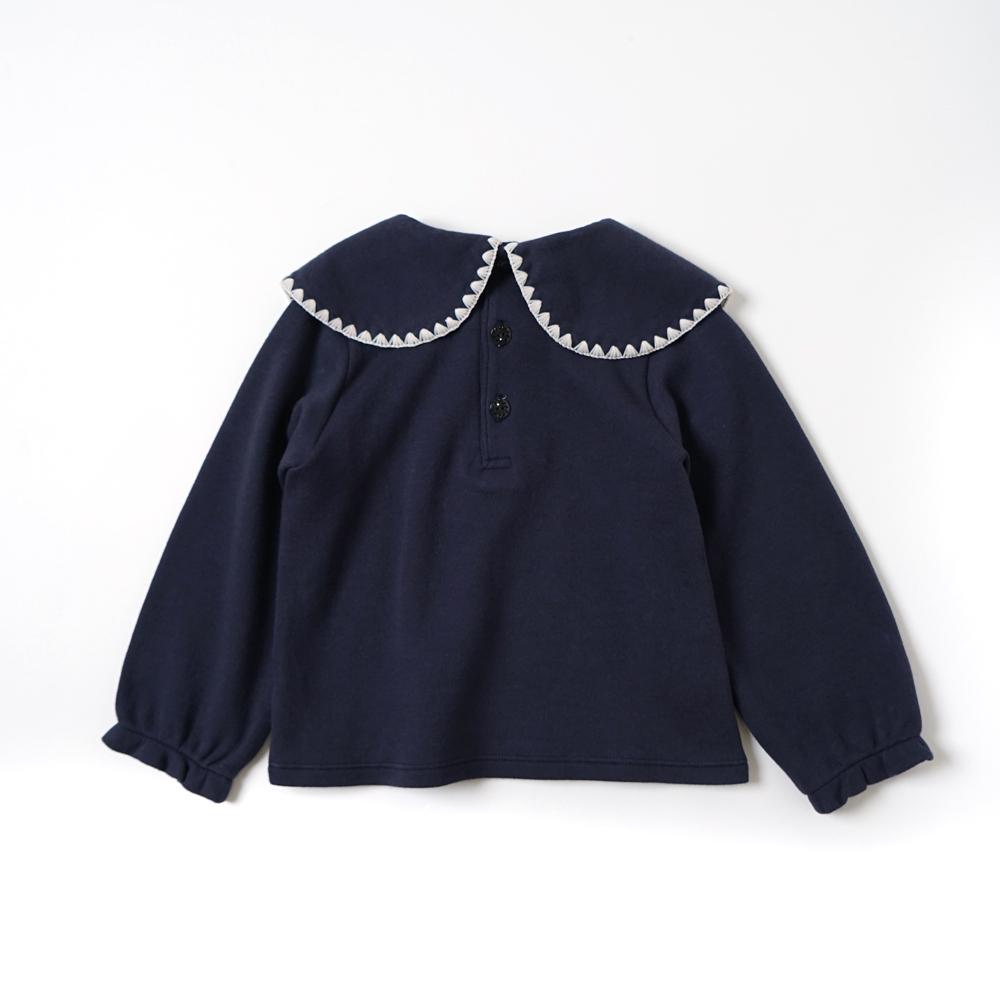 ビッグ刺繍襟プルオーバー ネイビー 80cm・90cm・100cm / Hoppetta plus