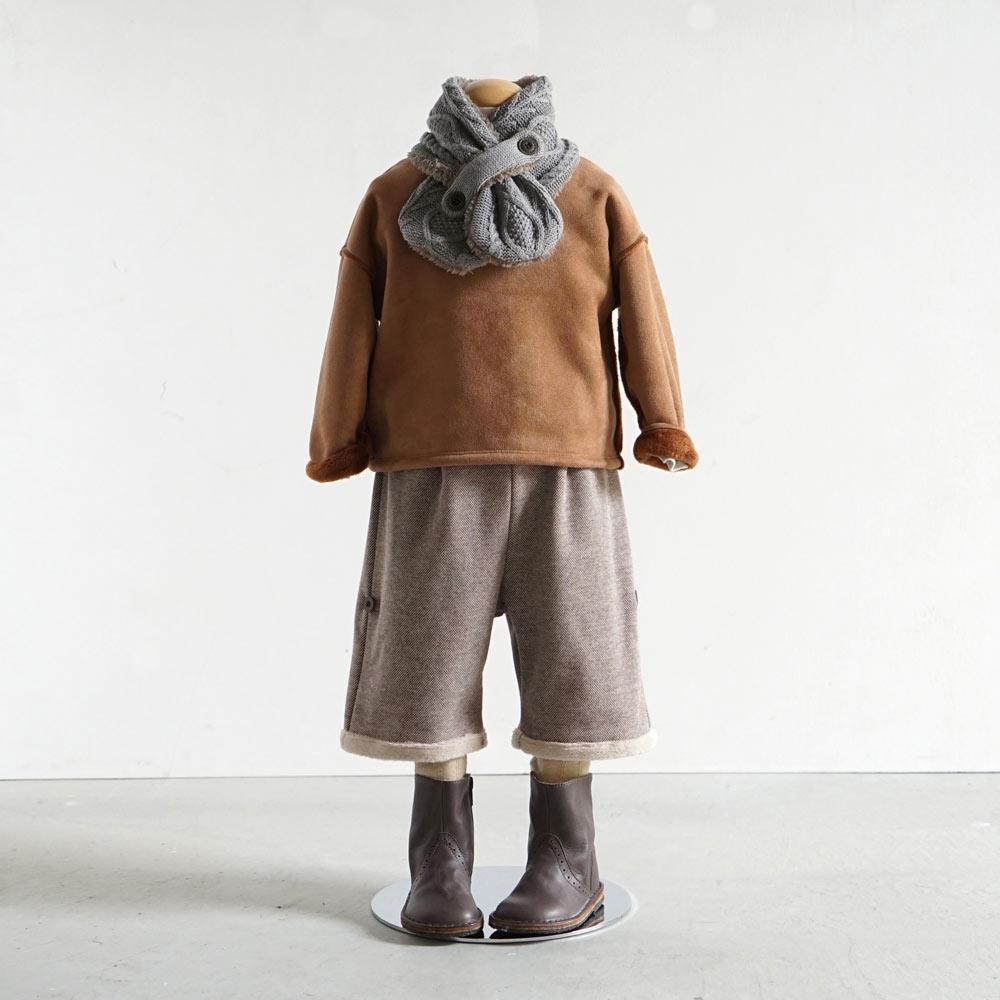 ツィード起毛2wayハーフパンツ ブラウン 70-80cm・80-90cm・90-100cm / Hoppetta