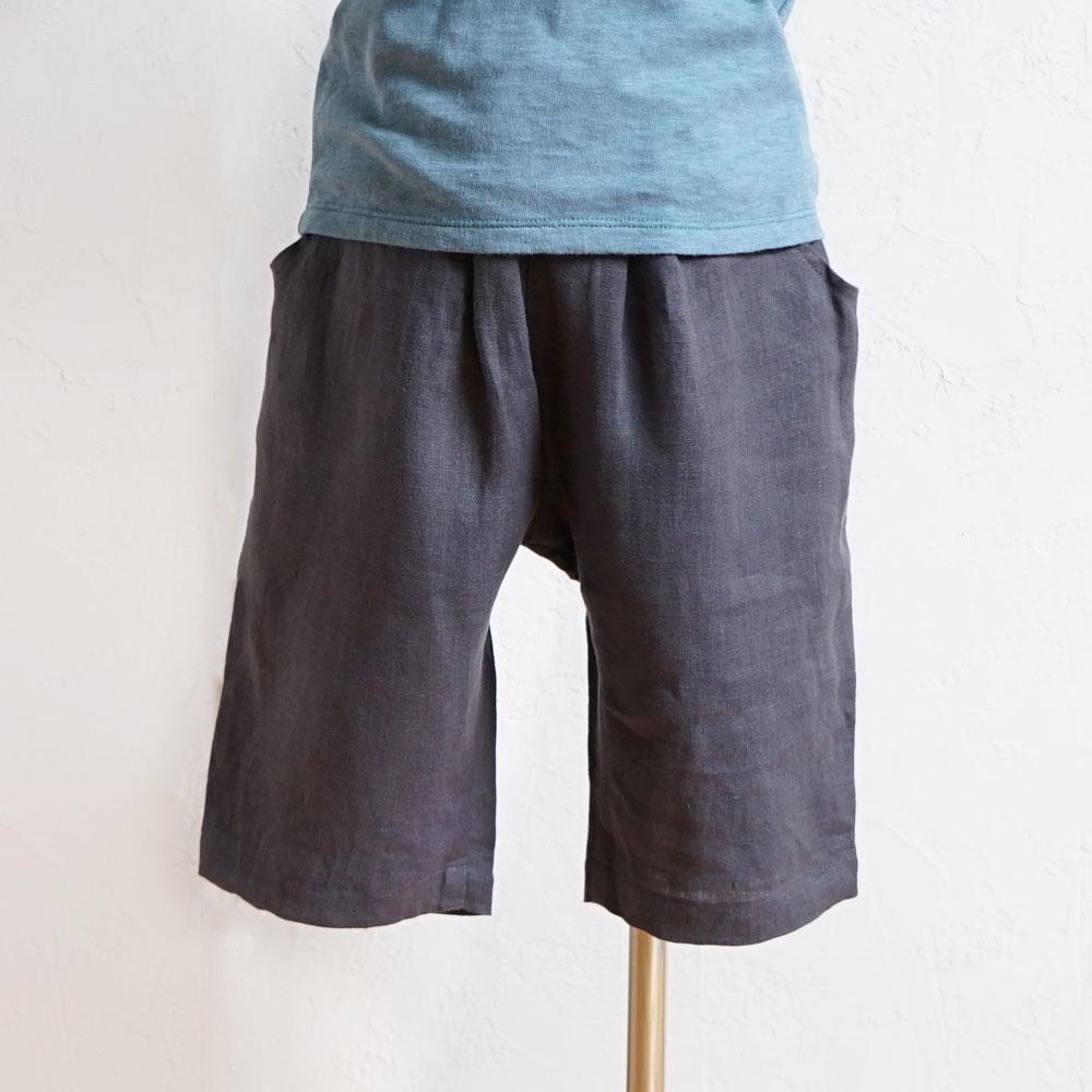 リネン8分丈パンツ グレー 80cm・90cm・100cm / Hoppetta