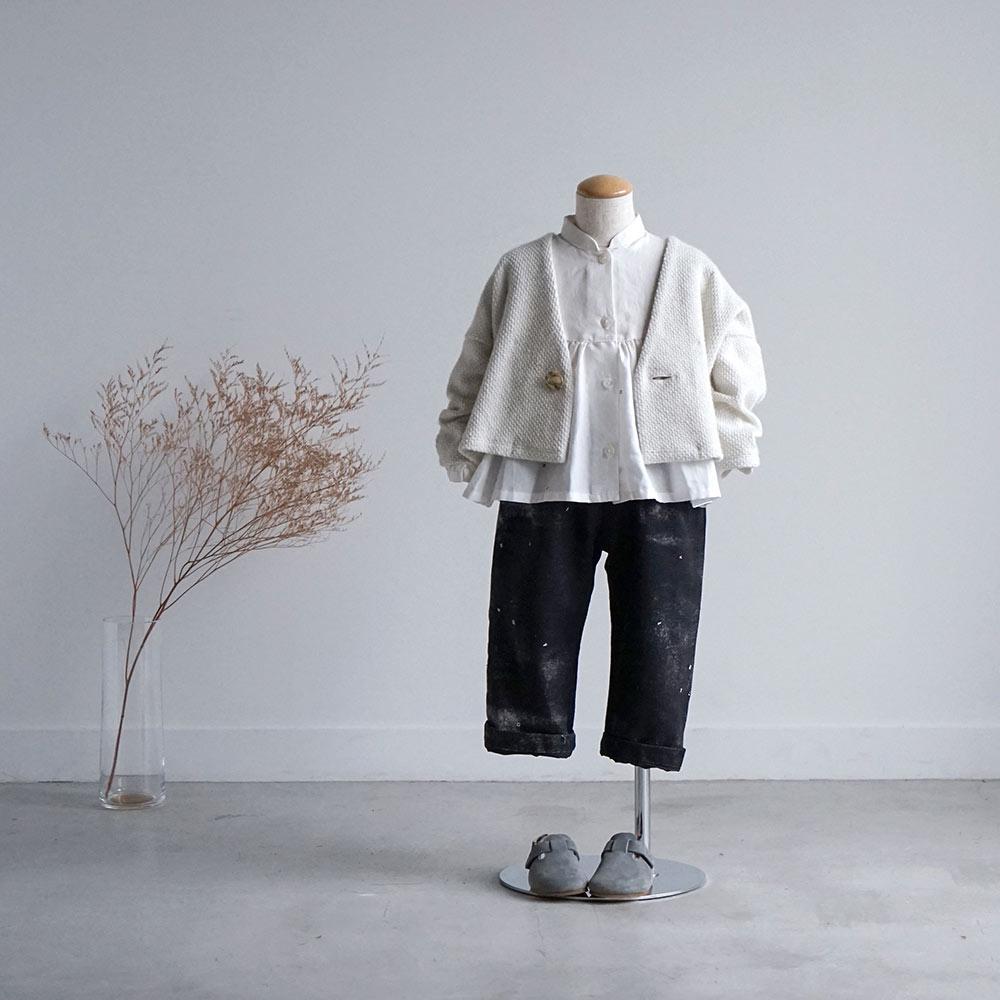 ギャザー チュニック ブラウス コットンシルクホワイト 70-80cm・80-90cm・90-100cm / Hommage de NAOMI ITO