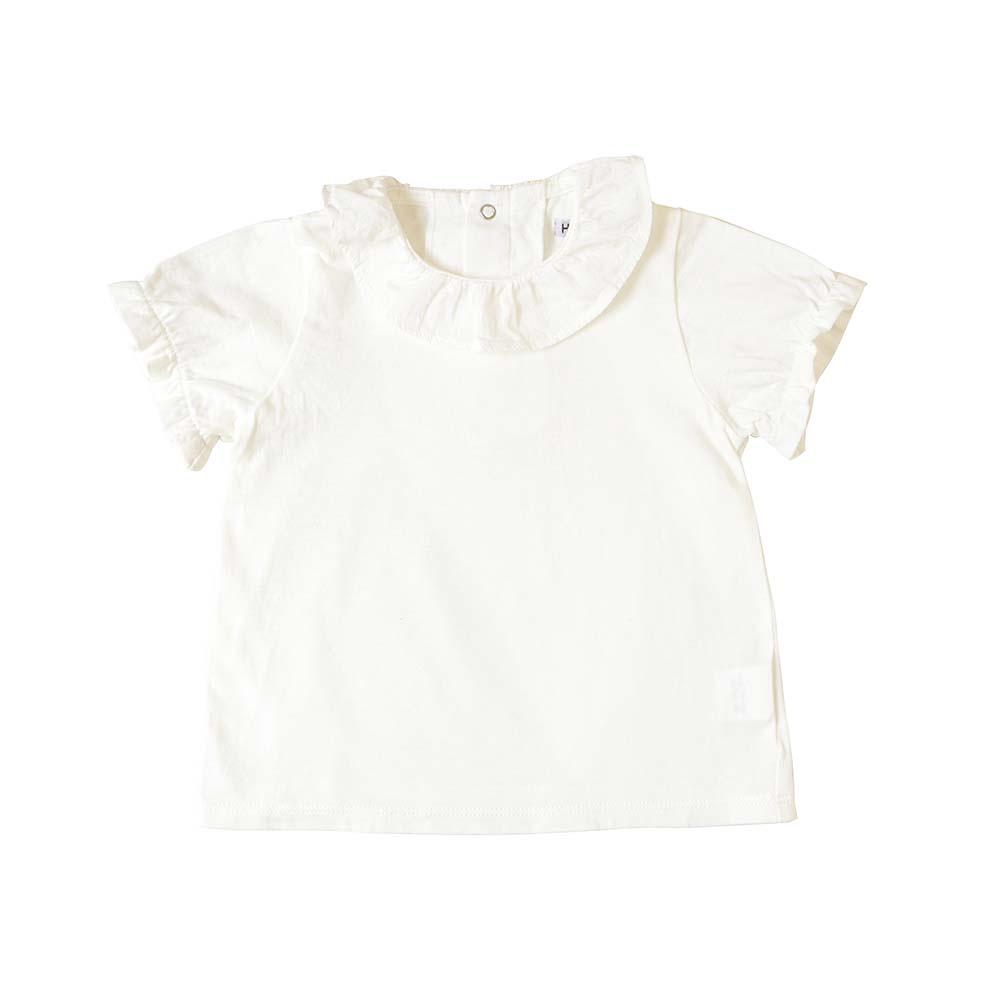 フリルドットTシャツ オフホワイト 80cm・90cm・100cm / Hoppetta