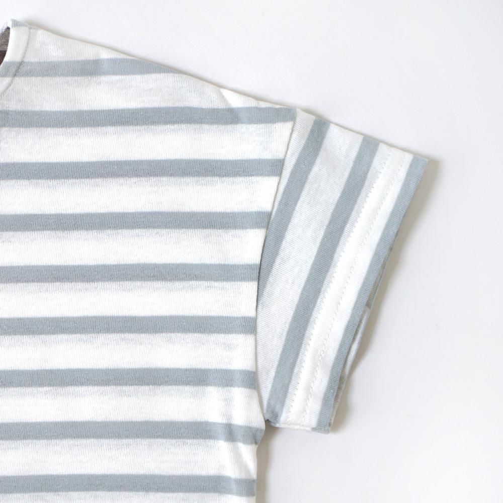 テープ配色ボーダーTシャツ ライトブルー 80cm・90cm・100cm / Hoppetta