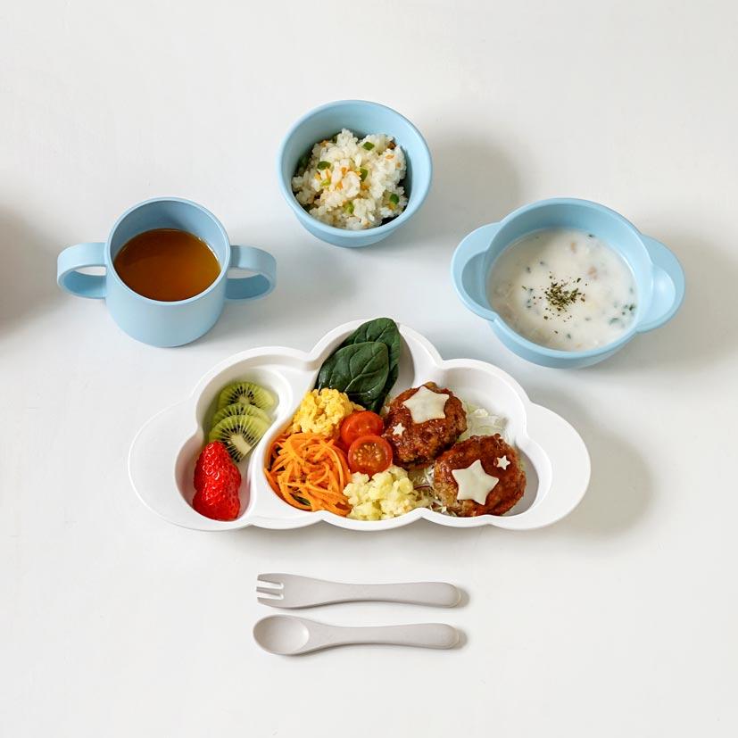 帆布ギフトBAG お食事セット(袖なしポーチロン) ブルー / 10mois / 出産祝い / 名入れ刺繍可