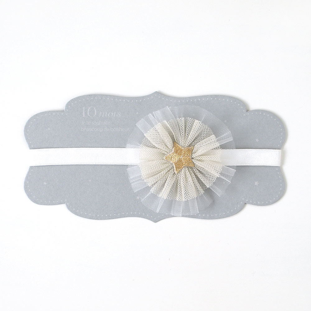 ヘアバンド フラワー ホワイト×ゴールド / 10mois(ディモワ)