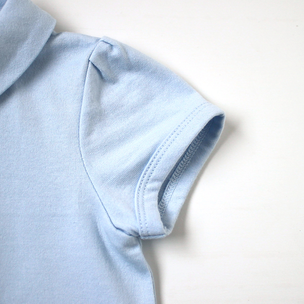 シャツ襟ショートオール ブルー 70cm・80cm / 10mois(ディモワ)