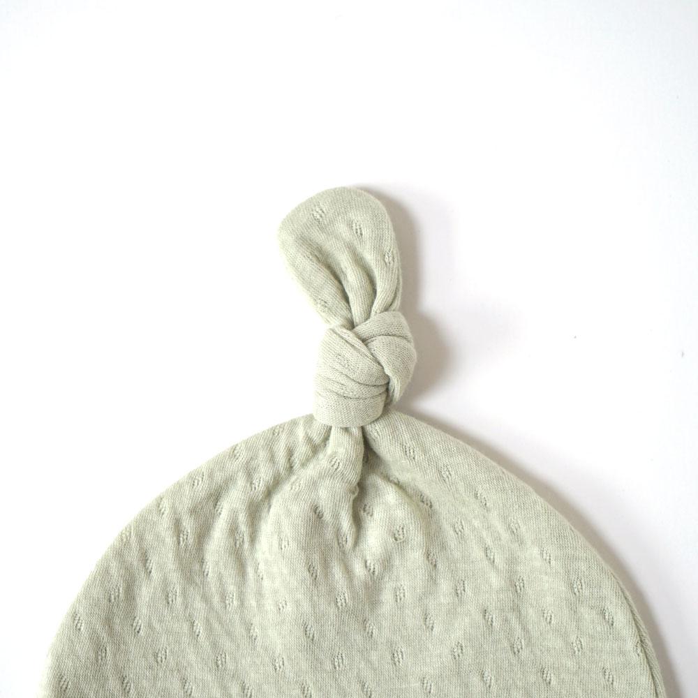 guri(ぐり) 2wayドレス&ベビー帽2点セット グリーン 50cm-70cm オーガニックコットン / Hoppetta plus