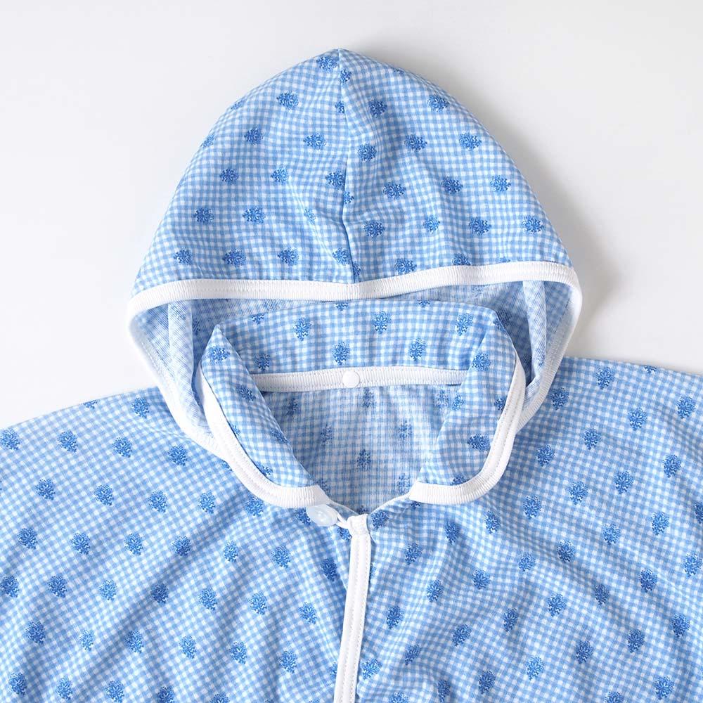 UVカット ベビーマント フレンチブルー(フード取り外し可)(新生児〜100cm) / SOULEIADO