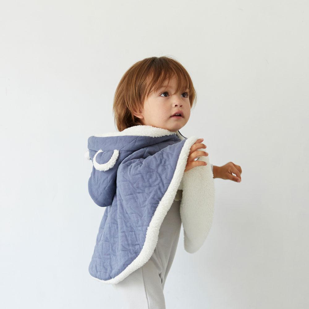 starキルト 耳つきマント ブルー 新生児〜100cm / 10mois