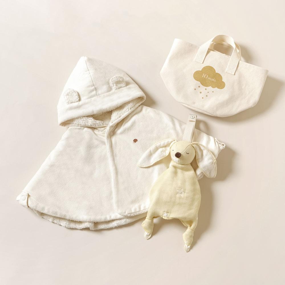 帆布ギフトBAG ベビーマント きなり S / Hoppeta plus / 出産祝い / 名入れ刺繍可