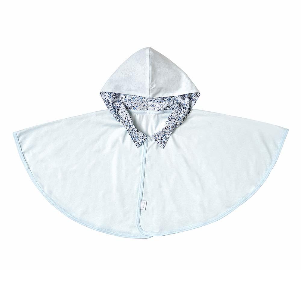 UVカット ベビーマント(コットン&テンセル) ブルー(新生児〜100cm) / 10mois(ディモワ)