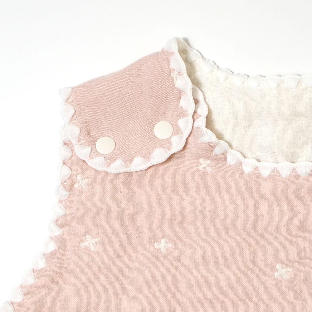 シェルピンク スリーパー ベビーサイズ ふくふくガーゼ(6重ガーゼ) / 10mois(ディモワ) / 名入れ刺繍可