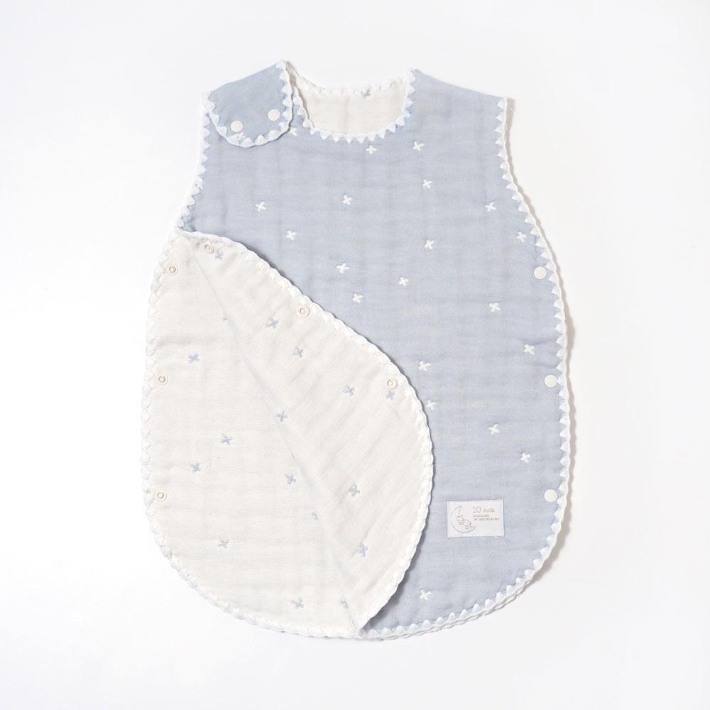 パウダーブルー スリーパー ベビーサイズ ふくふくガーゼ(6重ガーゼ) / 10mois(ディモワ) / 名入れ刺繍可