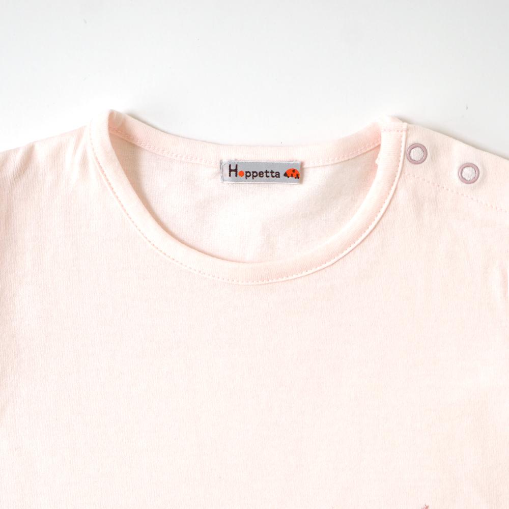 チューリップアップリケ Tシャツ ライトピンク 80cm・90cm・100cm / Hoppetta