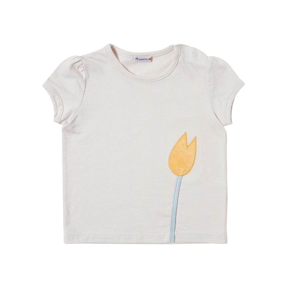 チューリップアップリケ Tシャツ ライトベージュ 80cm・90cm・100cm / Hoppetta