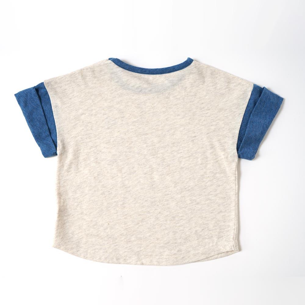 オーガニックコットン ロールアップスリーブ Bird刺繍Tシャツ アイボリー 80cm・90cm・100cm / Hoppetta plus
