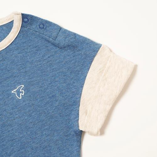 オーガニックコットン ロールアップスリーブ Bird刺繍Tシャツ ブルー 80cm・90cm・100cm / Hoppetta plus