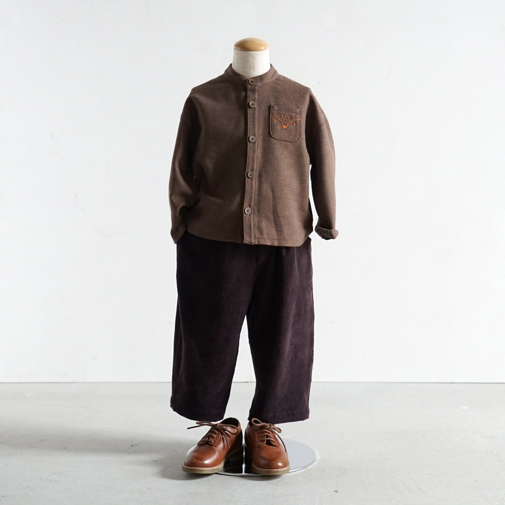 リス刺繍カラーネップシャツ ブラウン 80cm・90cm・100cm / Hoppetta