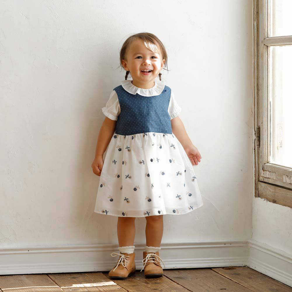 dot flower刺繍ドレス イエロー 80cm・90cm・100cm / Hoppetta