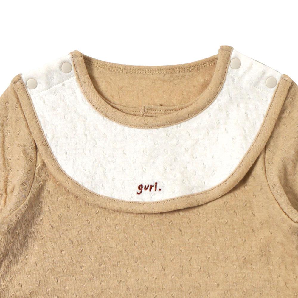 guri(ぐり) オーガニックコットン スタイ付き長袖ボディ マスタード 70cm・80cm / Hoppetta plus