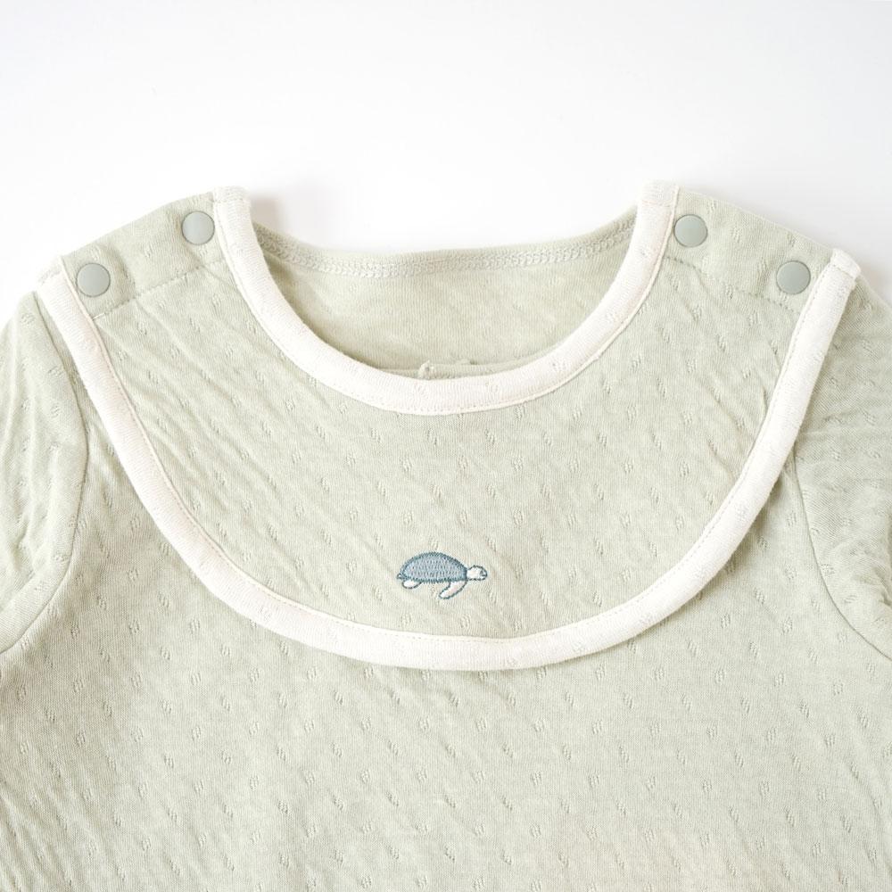 guri(ぐり) オーガニックコットン スタイ付き長袖ボディ グリーン 70cm・80cm / Hoppetta plus
