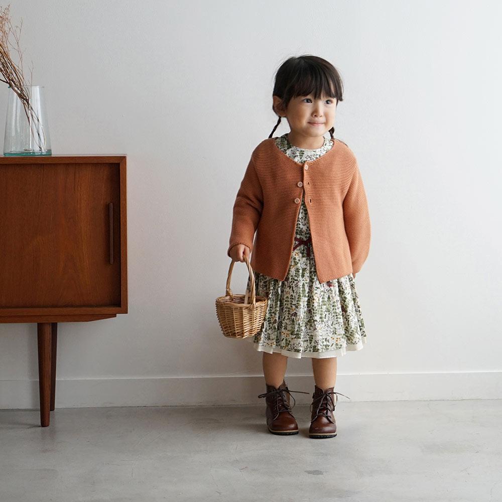フェザーコットン ガーター編み カーディガン マスタード 70-80cm・80-90cm・90-100cm / Hoppetta