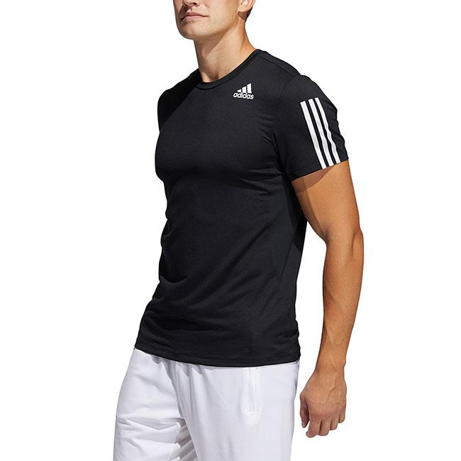 アディダス PRIMEBLUE AEROREADY 3ストライプス スリム半袖Tシャツ ブラック