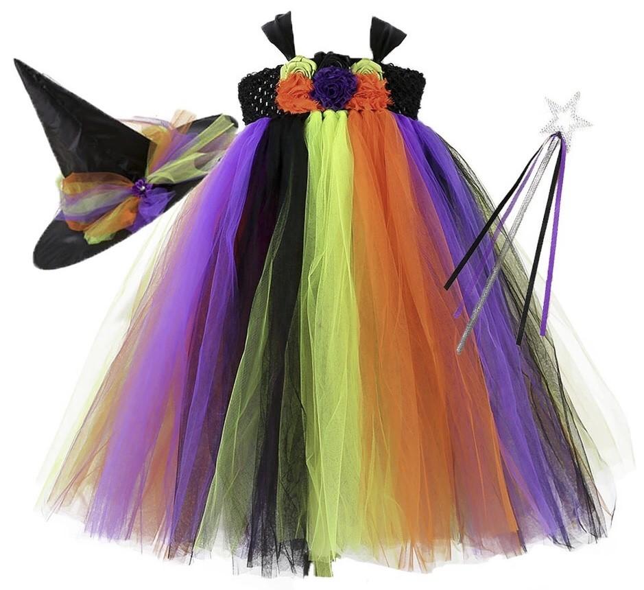 上質シリーズ ハロウィン チュチュドレス 魔女ハット+おまけ 魔法の杖