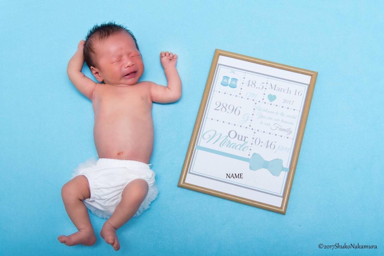 ≪データ配信≫PDFで名入れ編集可能★新生児撮影用 デザインボードC(リボン男女セット)