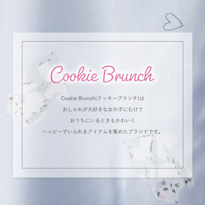 クッキーブランチ レディースパジャマ cookiebranch かわいい 長袖 前開 女の子 サテン 猫 ねこ ネコ お泊まり ピンク ブルー//メール便発送で送料無料
