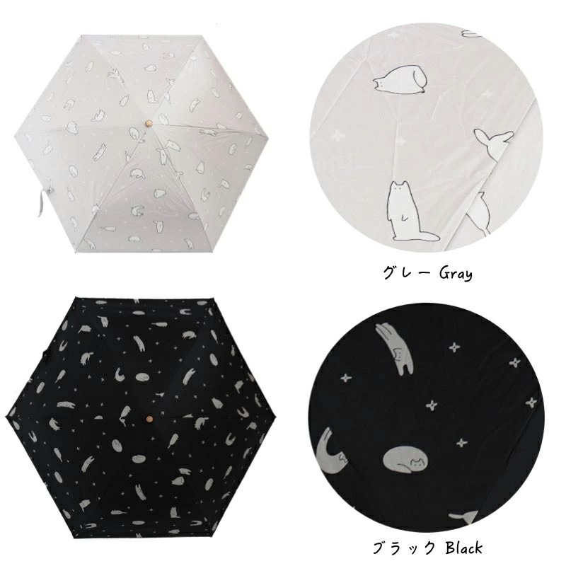 ねこ 折りたたみ 日傘  親骨約50cm 晴雨兼用 UVカット 紫外線 対策 雨傘 かさ 遮光 遮熱 撥水 ブラック 猫 ネコ サックス//宅配便発送のみ