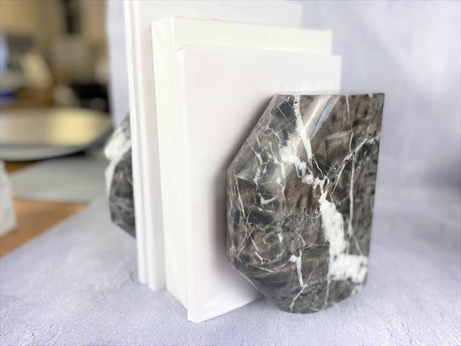 天然大理石 カフェラテグレー ブックエンド Bタイプ 2個1セット 送料無料