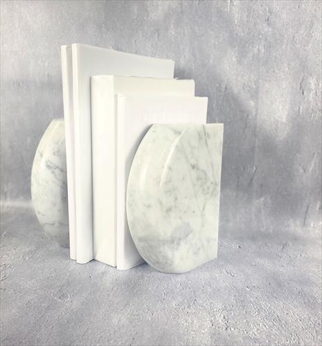 天然白大理石  ビアンコカラーラ ブックエンド Cタイプ 2個1セット 送料無料