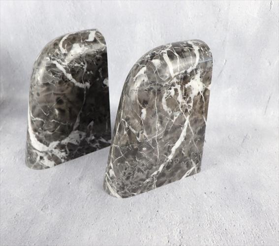 天然大理石 カフェラテグレー ブックエンド Aタイプ 2個1セット 送料無料