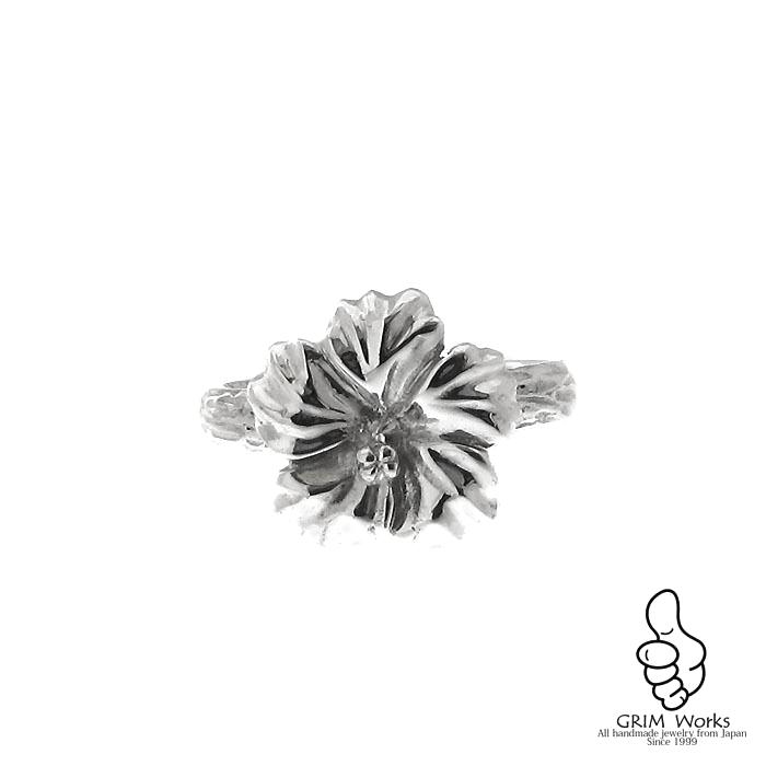 Hibiscus Ring    手彫りの質感を感じられるハイビスカスリング